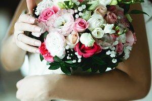 A closeup of a bouquet