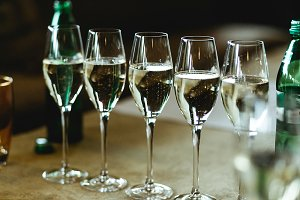 Champagne sparkles in the glasses