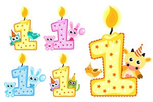 Set Happy First Birthday Candle