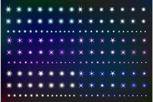 Set Glowing Light Effect Stars