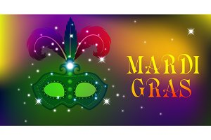 Mardi Gras mask, colorful poster, template, flyer. Vector illustration.