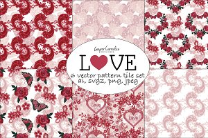 Love seamless vector patterns