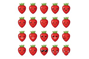 Set strawberry emotions/emoji face.