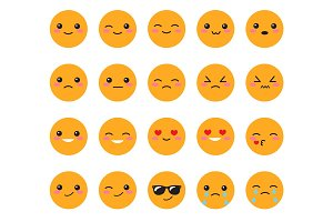 Set yellow emotions emoji