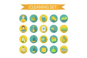 cleaning tools icons set