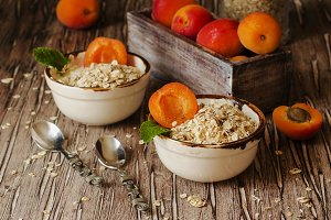 healthy breakfast of muesli and apricot, selective focus