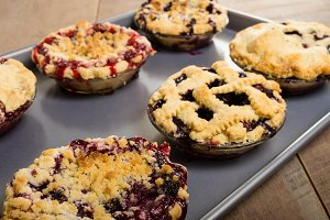 Warm baked fruit pies