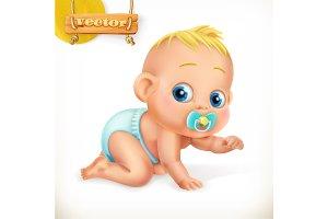 Cute kid. Baby. Vector icon