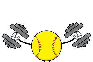 Softball Faceless With Dumbbells