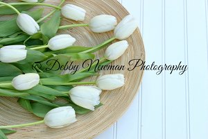 White Tulips on Bamboo Plate-left