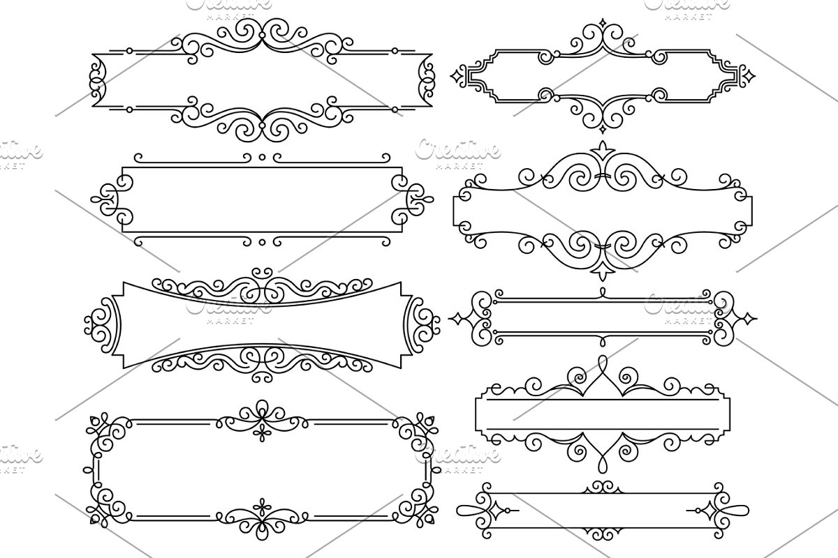 Vector Trendy Linear Frame With Copy Space For Text Wedding Invitation Design Template Decorative Background Greeting Card In Mono Line Style