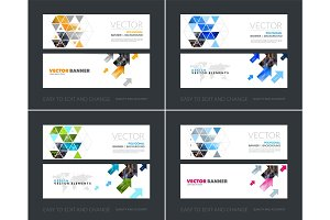 Vector set of modern horizontal website banners with yellow diag