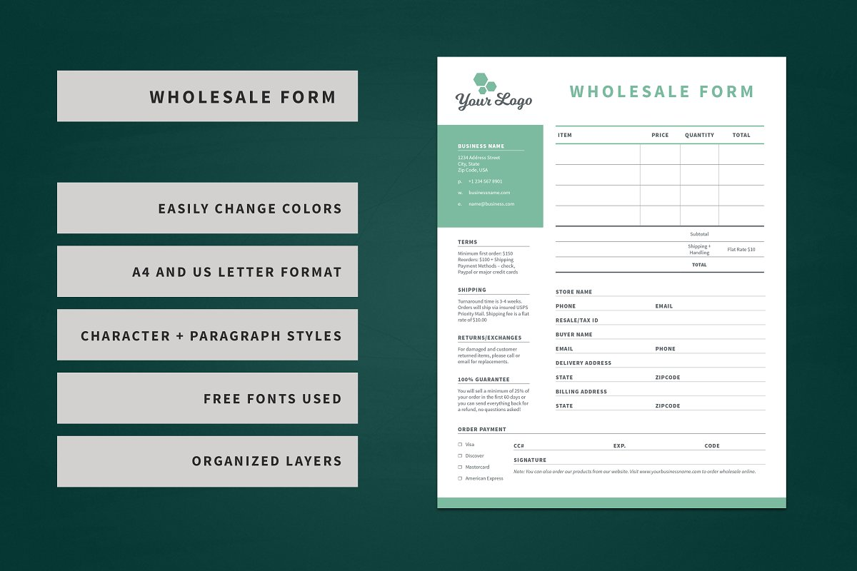 Wholesale Order Form Template | Wholesale Order Form Template Stationery Templates