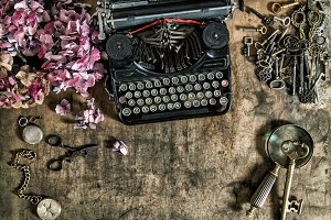 Vintage typewriter old keys Flowers