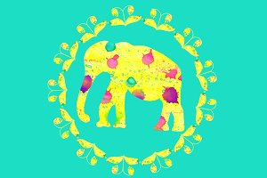 3 bright  vector elephants