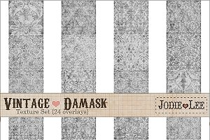 24 Vintage Damask Textured Overlays