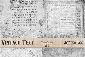 Vintage Text Script Texture Overlays
