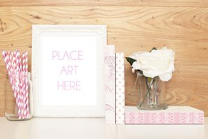 Pink and white frame mockup