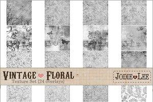 24 Vintage Floral Textured Overlays