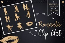 Golden Glitter Romantic Clipart