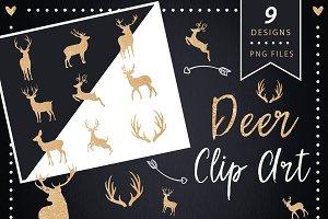 Deer Clip art, Glitter Silhouettes