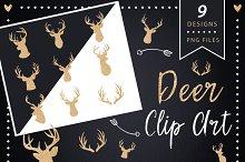 Deer Head Clipart - gold glitter