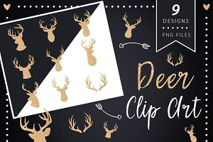 Deer Head Clipart - gold glitter