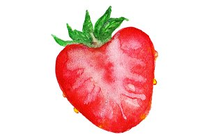 Watercolor strawberry berry vector