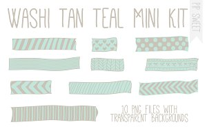 Washi Tan Teal Mini Kit