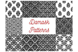 Damask seamless patterns set. Floral background