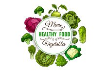 Healthy vegetable food poster. Vegetarian menu