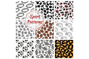 Sport seamless patterns set of balls