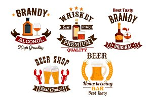 Bar icons set. Beer, whiskey, brandy alcohol icons