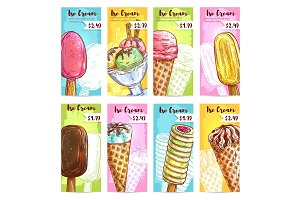 Ice cream menu price tags color sketch