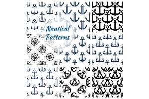 Nautical navy seamless patterns set