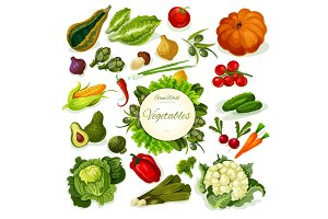 Vegetables vegan food vector poster