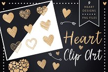 Golden Glitter Heart Clip Art