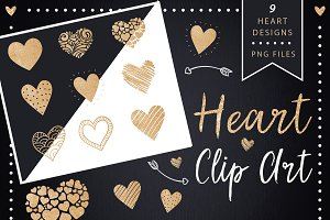 Golden Glitter Heart Clip Art