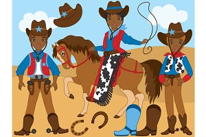 Vector African American Cowboy Set
