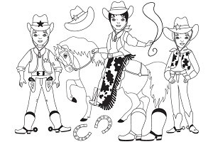 Vector Black and White Cowboy Set