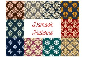 Floral damask seamless pattern background set