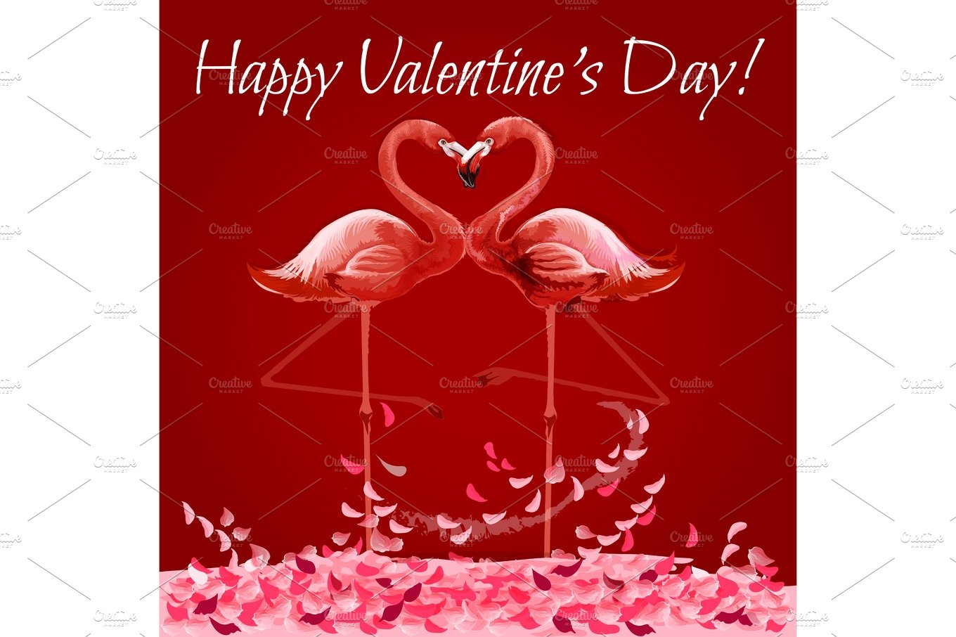Valentine Day card with flamingos love heart ~ Illustrations ...