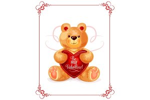Bear toy with heart for Valentine Day card design