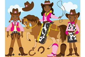 Vector African American Cowgirl Set