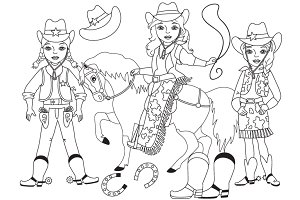 Vector Black and White Cowgirl Set