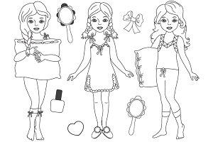 Vector Black & White Pyjama Girl Set