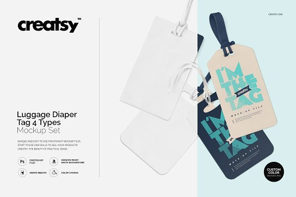 Download Luggage Diaper Tag 4 Types Mockup Free Download