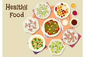Healthy food for lunch menu icon design