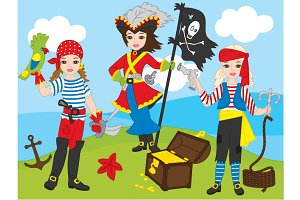 Vector Pirate Girls Set