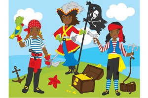 African American Pirate Girls Set